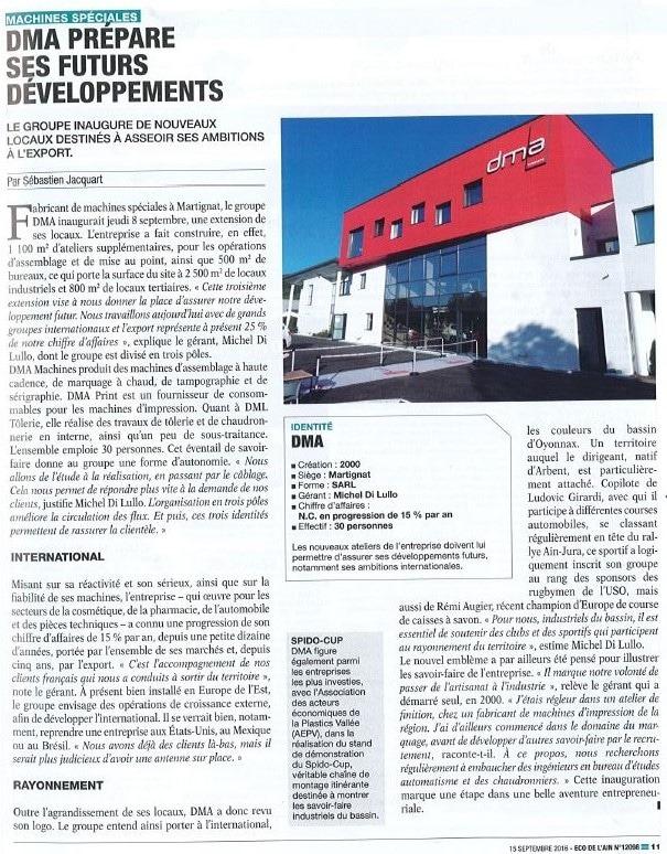 DMA prépare ses futurs développements -article de presse Eco de L'Ain