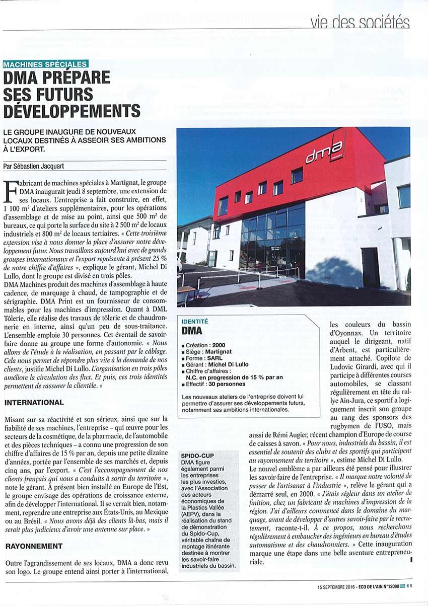 dma groupe  u2013 dma prepare ses futurs developpements  u2013 eco de l u2019ain